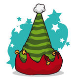 Green Elf Hat in Star Shaped Background, Vector Illustration Stock Photography