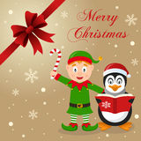 Green Elf & Penguin Christmas Card Royalty Free Stock Photos
