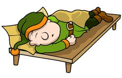 Green Elf Sleeping Royalty Free Stock Images