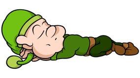 Green Elf Sleeping Stock Image