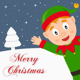 Green Elf Snowy Merry Christmas Card Royalty Free Stock Images