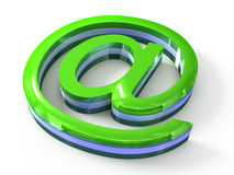 Green email sign on white background Royalty Free Stock Image