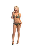 Green Embellished Bikini Blond Royalty Free Stock Photo