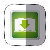 green emblem book with down arrow Stock Photos