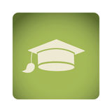 Green emblem graduation hat icon. Illustraction design image Royalty Free Stock Photography