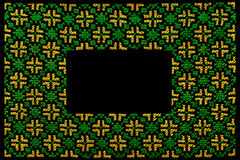 Green embroidered  frame Royalty Free Stock Images