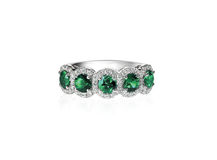 Green emerald anniversary band ring Stock Image