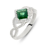 Green emerald ruby and diamond silver ring Royalty Free Stock Images