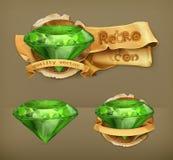 Green emeralds icons Stock Photos