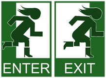 Green emergency exit and enter sign Royalty Free Stock Images