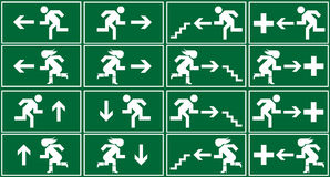 Green Emergency Exit Sign, Icon And Symbol Royalty Free Stock Image