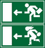 Green emergency exit sign, icon and symbol. Background Royalty Free Stock Image