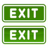 Green Emergency Exit Sign Set on White Background. Vector Royalty Free Stock Photos