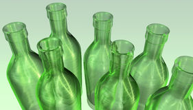 Green empty bottles Royalty Free Stock Image