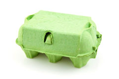 Green empty egg carton Stock Images
