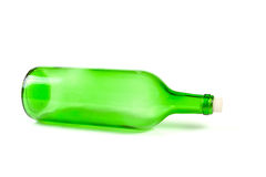 Green empty glass bottle Royalty Free Stock Photos