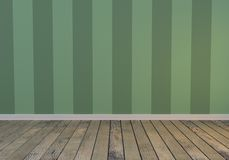 Green empty interior, front view, wood floor. 3d rendering illustration Royalty Free Stock Images