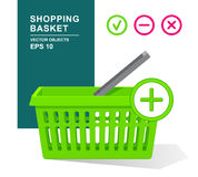 Green empty plastic basket with handle. Online shopping. Supermarket objects. Add, remove, delete. Vector illustration. Green empty plastic basket with handle Stock Images