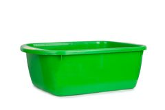 Green empty plastic bowl isolated Royalty Free Stock Images