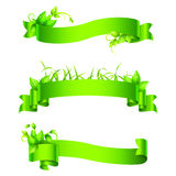 Green Empty Ribbons and Banners Stock Photography