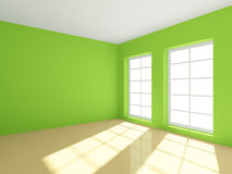 Green Empty Room. 3d rendering of green empty room Royalty Free Stock Images