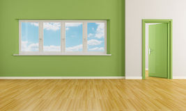 Green empty room Stock Image
