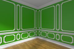 Green empty room corner with molding and parquet closeup Royalty Free Stock Photo