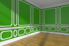 Green empty room corner with molding and parquet floor Royalty Free Stock Images