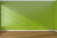 Green empty room with dark parquet floor Stock Photos