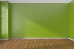 Green empty room with dark parquet floor Stock Image