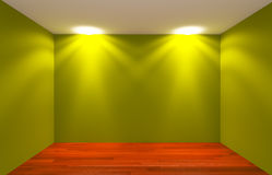 Green Empty Room lighting Stock Photo