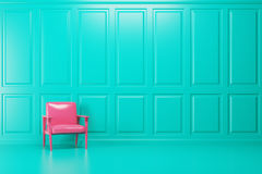 Green empty room, pink armchair. Bright pink armchair is standing in an empty emerald room with a blue floor. Concept of minimalism. 3d rendering mock up Royalty Free Stock Images
