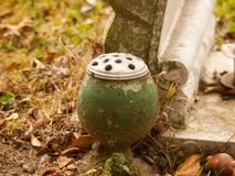 Green empty round flower pot up close cemetery royalty free stock photos