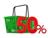 Green empty shopping basket and fifty percent on white backgroun. D. Isolated 3d illustration Stock Image