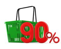 Green empty shopping basket and ninety percent on white backgrou Royalty Free Stock Images