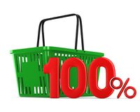 Green empty shopping basket and one hundred percent on white bac Royalty Free Stock Photos