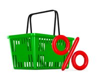 Green empty shopping basket and percent on white background. Iso Stock Image
