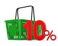 Green empty shopping basket and ten percent on white background. Isolated 3d illustration Royalty Free Stock Photography