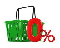 Green empty shopping basket and zero percent on white background Stock Photography