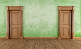 Green empty vintage room Stock Image