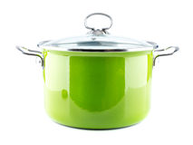 Green enamel pot Royalty Free Stock Image