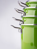 Green enamel pots Royalty Free Stock Photos