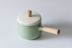 The green enameled pots. Indoor shooting Royalty Free Stock Photos