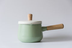 The green enameled pots. Indoor shooting Stock Photography