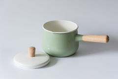 The green enameled pots. Indoor shooting Stock Photo