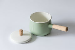 The green enameled pots. Indoor shooting Stock Image