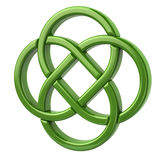 Green endless celtic knot. 3d illustration of green endless celtic knot isolated on white background Stock Image