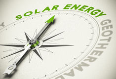 Green Energies Choice - Solar Energy Concept. Compass with needle pointing the text SOLAR ENERGY - Green and renewable energies concept blur effect with focus on Royalty Free Stock Photo