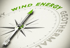 Green Energies Choice - Wind Energy Concept. Compass with needle pointing the text WIND ENERGY - Green and renewable energies concept blur effect with focus on Stock Photography