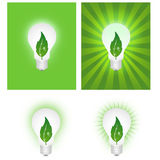 Green energy. Illustration of green energy. Concept of eco energy. Light bulb and leaf Stock Images